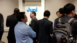 Figure 1: Lots of interest in the Juni demo, which included a Band 48 MiFi device