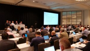 Figure 2: CBRS Alliance Executive Team addressing packed house at opening plenary